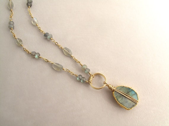 Gold Labradorite Necklace, Gold Layering Necklace, Gemstone Layering Necklace