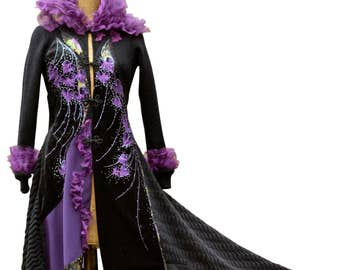 Black purple long Gothic sweater Coat- Fantasy OOAK boho wearable art, Refashioned hand painted outerwear. Size Small. Ready to ship