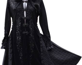 Reserved for Maestro. Long black Sweater coat, Victorian romantic OOAK, refashioned boho Fantasy Art to wear, embellished Goddess fairy