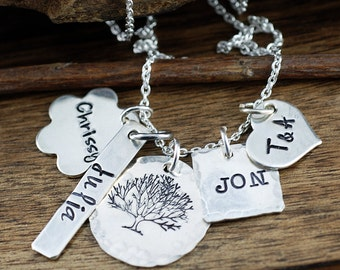 Family Necklace, Tree of Life Necklace, Cluster Charm Necklace, Personalized Keepsake Necklace, Mother's Necklace, Gift for Mom