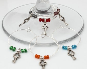 Silver plated cute key wine glass charms- Set of 6 mixed colours- Hostess Gift, wedding favour, garden party
