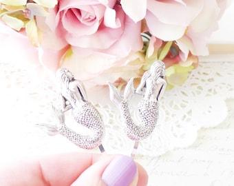 Silver Mermaid Hair Pins - Mermaid Bobby Pin Set - Beach Hair - Wedding Hair Accessory - Bridal Hair - Mystical Mermaid