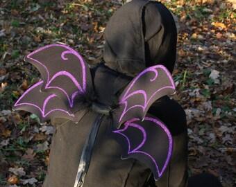 Large black glitter Halloween bat wings, bat shaped fairy wings, flying monkey, child/adult goth fancy dress,