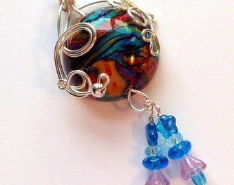 Round Focal Wire Wrapped  Polymer Clay Bead AT 102