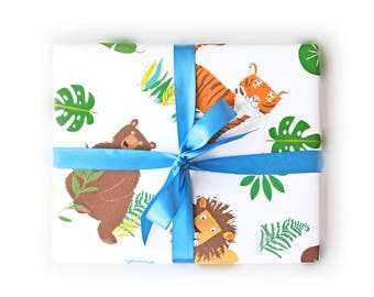 Wrapping Paper Lions Tigers Bears Gift Wrap - Birthday wrapping paper for boys and girls