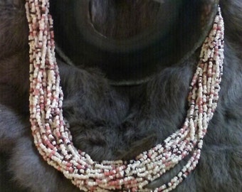 Pink, brown, and white beaded necklace