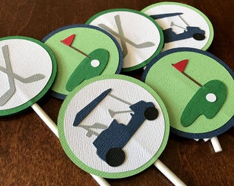 Golf Party Cupcake Toppers, Golf Birthday Party, Golf Shower, Golf Retirement Party, Boy Golf Party, Golf Party Decor, Mini Golf, Set of 12