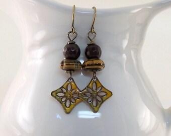 Rustic Yellow Flower Earrings, Enameled Earrings, Brass Earrings, Small Earrings, Brown and Gold,  Boho Earrings, Gypsy Earrings, AE194