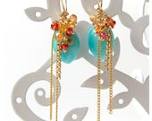 Peruvian Amazonite Drop Earrings with Sapphire clusters