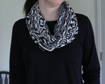 Jersey Knit Black and White Tribal Ethnic Print Infinity Scarf Handmade