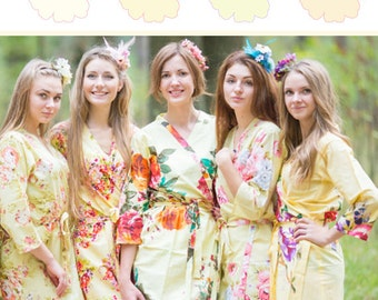 Shades of Pastel Yellow Wedding Color Bridesmaids Robes