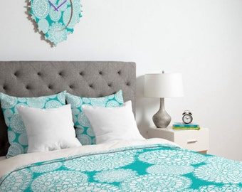 Boho Duvet Cover // Home Decor // Bedding // Twin, Queen, King Sizes // Turquoise // Bedroom // Pretty // Delightful Doilies Tiffany Design