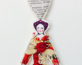 New Medium Size Flat Lady Doll Ornament Handmade Modern Vintage Look Fabric Doll Decoration Embellished Textile Art Doll Cloth Ornament