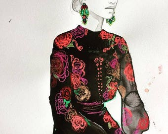 Old World Opulence, original fashion illustration pastel and watercolor painting by Jessica Durrant