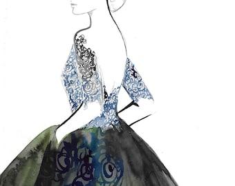 "Original 9 x 12"" watercolor fashion illustration sketch by Jessica Durrant, Dark Dress"