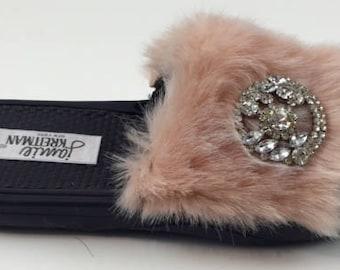 Faux Fur Jeweled Slide Sandal