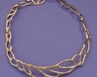 Vintage LES BERNARD Gold Necklace, Les Bernanrd Gold Collar Necklace, Les Bernard Modernist Necklace, Gold Modernist Necklace