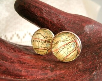 Vintage Minneapolis Map glass Cuff Links