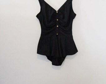 80's Black Skirted Swimsuit
