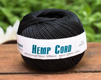 Black Hemp Cord 1mm, 430 Feet,  Hemp Jewellery Twine, Dyed Hemp, Black Twine -T73
