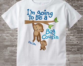 Big Cousin Shirt, I'm Going to Be A Big Cousin Onesie, Personalized Big Cousin Monkey Shirt with Little Cousin 03142012a