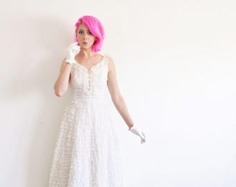 mid century ruffle wedding gown . floor length tiered lace dress .extra small.xs .sale