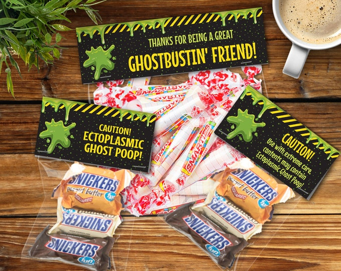 Ghostbuster Party Favor Bag Toppers - 2 EDITABLE Treat Bag Toppers + 1 Pre-Typed Treat Bag Topper - INSTANT Download Printable PDFs