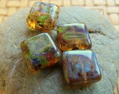 NEW POLISHED Hurricane SQUARES . Czech Picasso Glass Beads (10 beads) 10 mm