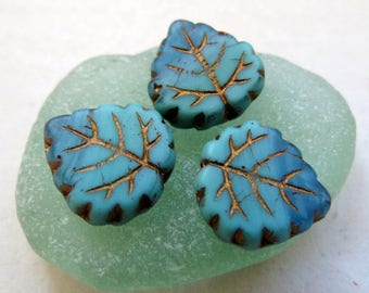 NEW BRONZED BAY Leaves . Czech Pressed Glass Leaves (4 beads) 16 by 15 mm