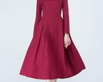 red linen dress, party dress, fitted dress, elegant dress, long sleeve dress, daily dress, midi dress, tunic dress, flared dress, women 1703