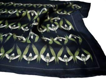 Snowdrops Silk Pocket Square / Black Silk Pocket Square / Floral Silk Pocket Square / Black Pocket Square / Silk Neckerchief