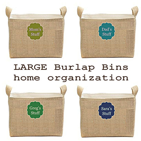 Burlap Storage Bins, Large Square Burlap Bins, Family Storage Boxes, Personalized Baskets, Mud Room Storage, Home Organization, Junk Caddy
