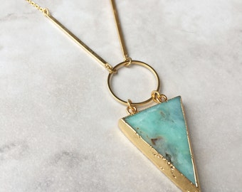 Amazonite Pendant Necklace | Gold Plated | Geometric