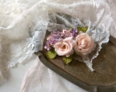 Rose floral clip, vintage flower hair clip, pink headpiece, woodland hair clip, hair flowers, shabby chic wedding, whimsical hair accessory