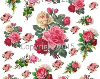 Printable Victorian Flowers Pink Roses #101 Collage Sheet.  Instant Digital Download,  Flowers, Scrapbook Embellishments