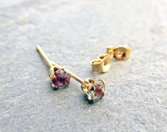 3mm Solid 14k Gold Alexandrite Earrings, Full Color Change Lab Grown Alexandrite Studs, June Birthstone Earrings, Tiny Faceted Round Stones