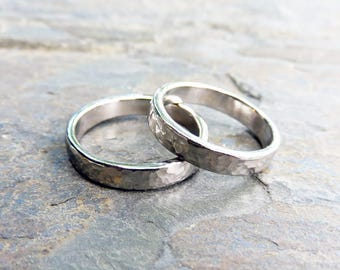 Matching Hammered 14k White Gold Wedding Band Set, 4mm Wedding Rings, Polished or Matte, Hypoallergenic 14k Palladium White or 950 Palladium