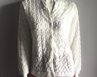 Vintage Women's 60's White Cardigan Sweater by Carol Brent (L)