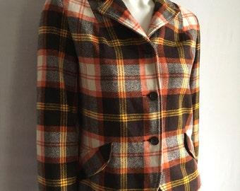 Vintage Women's 60's Bobbie Brooks, Wool Blend, Jacket, Plaid, Coat (S)