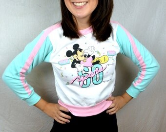 Cute Vintage 80s 1988 Puffy Small Mickey Mouse Sweatshirt - XS - Kids