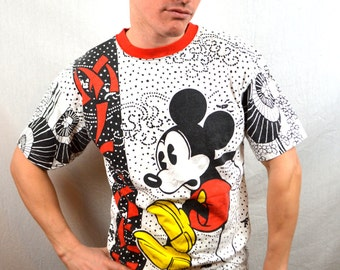 Vintage 90s Mickey Mouse Tshirt Tee Shirt - All Over Print