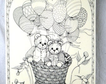 Vintage 80s Adult Coloring Page - Teddy Bear Heart Hot Air Balloon