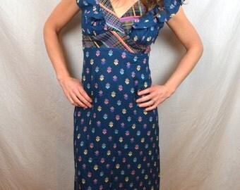 Amazing Vintage 1970s 70s Open Back Summer Festival Maxi Dress