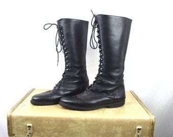 Vintage Tall Leather Boots Lace Up Shoes - EB - Size 9