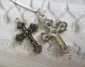 Pressed Flower Cross-Sky Blue Forget-Me-Nots,Ferns,Symbolizes TrueLove,Remembrance,Memories-Oxidized Victorian Reversible Cross-Gifts For 27