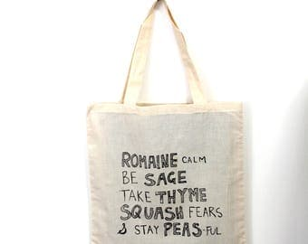 VEGGIE WISDOM Tote. Punny Tote. Natural Canvas Bag. Funny Saying Tote. Grocery Shopping Bag. Carry All Bag. Puns Market Bag Printed Tote Bag