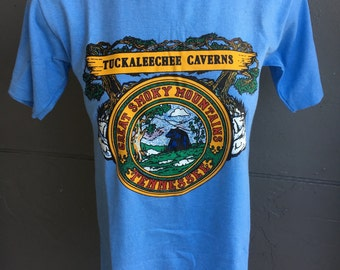Tuckaleechee Caverns Great Smoky Mountains 1980s vintage tee shirt - blue size small