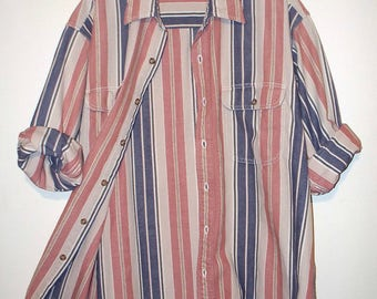 vintage 90s salmon and navy stripe cotton denim button down shirt