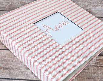 Baby Book, Baby Gift, Baby Album, Baby Memory Book, Baby Keepsake, Modern Baby Book, Coral and White Stripes