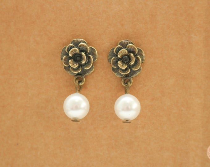 Bronze rose and pearl post stud earrings.